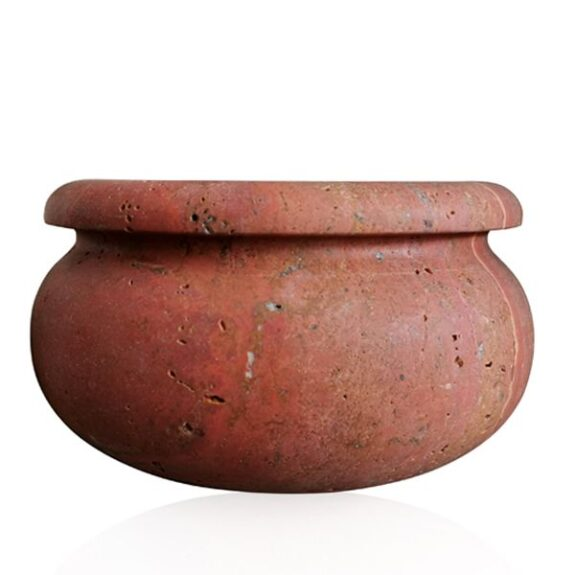 ciotola-marmo-travertino-rosso-red-travertine-marble-bowl-cosebelleantichemoderne